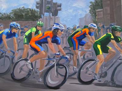 Poster featuring the painting The Peloton by Karen Ilari
