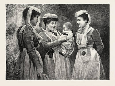 The Pet Of The Hospital Nurses, Victorian Era Painter Poster by R.j. Abraham, English School, 19th Century