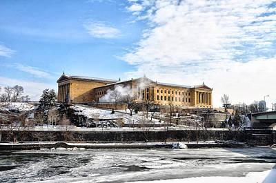 The Philadelphia Art Museum In Wintertime Poster by Bill Cannon