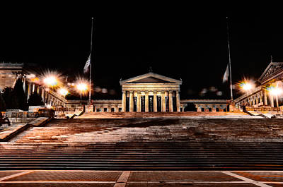 The Philadelphia Art Museum Steps At Night Poster by Bill Cannon