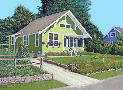 Poster featuring the painting Our Neighbour's House by Gary Giacomelli