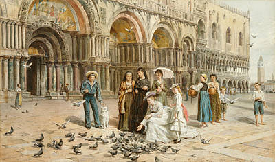The Pigeons Of St Mark S Poster by George Goodwin Kilburne