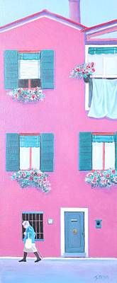 The Pink House With Green Shutters Poster