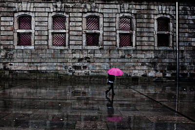 The Pink Umbrella Poster by Jorge Maia