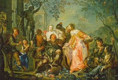 The Pleasures Of The Seasons   Autumn Poster by Johann Georg Platzer