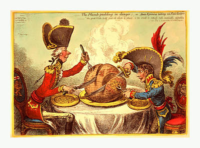 The Plumb Pudding In Danger, Or, State Epicures Taking Un Poster