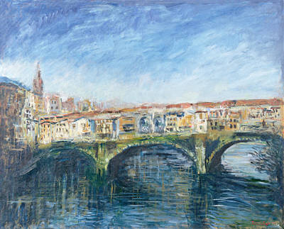 The Ponte Vecchio, Florence, 1995 Oil On Canvas Poster by Patricia Espir