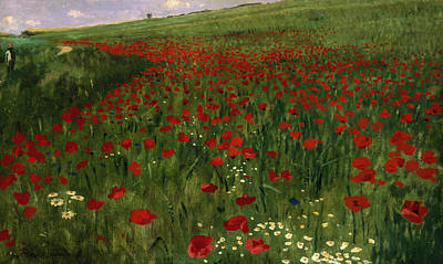 The Poppy Field Poster by Pal Szinyei Merse