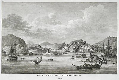 The Port And Town Of Chesme Poster by British Library