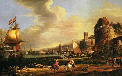 The Port Of Genoa Poster by Adriaen van der Cabel