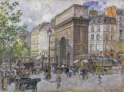 The Porte Saint-martin, 1898 Oil On Board Poster by Frederic Anatole Houbron
