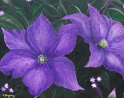 Poster featuring the painting The President Clematis by Sharon Duguay