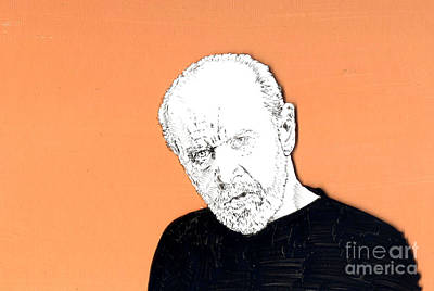 Poster featuring the mixed media The Priest On Orange by Jason Tricktop Matthews