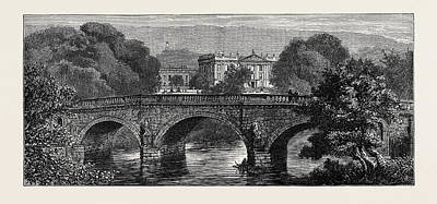 The Prince And Princess Of Wales At Chatsworth The Bridge Poster by English School