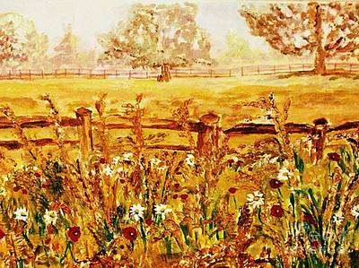 Poster featuring the painting The Prince Of Wales Wild Flower Fields by Helena Bebirian