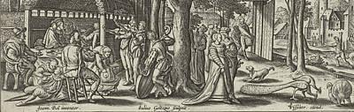 The Prodigal Son Squanders His Money, Julius Goltzius Poster by Julius Goltzius And Claes Jansz. Visscher (ii)