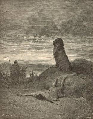 The Prophet Slain By A Lion Poster by Antique Engravings