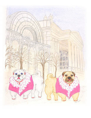 Poster featuring the painting The Pugsleys A Night At The Opera by Stephanie Grant