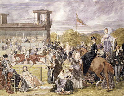 The Races At Longchamp In 1874 Poster by Pierre Gavarni