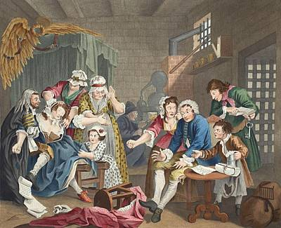 The Rake In Prison, Plate Vii, From A Poster by William Hogarth