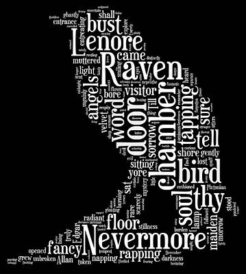 The Raven By Edgar Allan Poe Word Cloud Poster