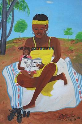 Poster featuring the painting The Reading Lesson by Nicole Jean-Louis