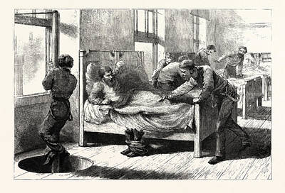 The Recent Fire In Chicago A Scene In The Firemens Bedroom Poster