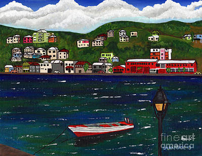 The Red And White Fishing Boat Carenage Grenada Poster by Laura Forde