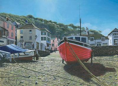 The Red Boat Polperro Corwall Poster by Richard Harpum