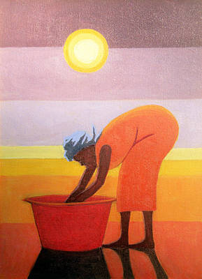 The Red Bucket, 2002 Oil On Canvas Poster by Tilly Willis