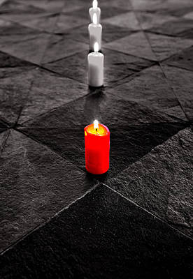 Poster featuring the photograph The Red Candle by Marwan Khoury