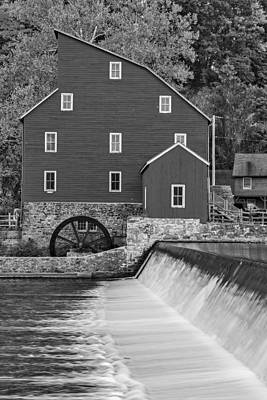 The Red Mill At Clinton Bw Poster by Susan Candelario