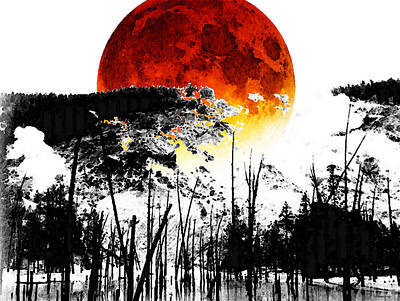 The Red Moon - Landscape Art By Sharon Cummings Poster by Sharon Cummings