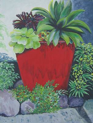 Poster featuring the painting The Red Pot by Suzanne Theis