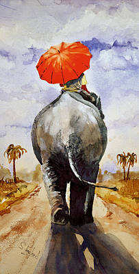 Poster featuring the painting The Red Umbrella by Steven Ponsford