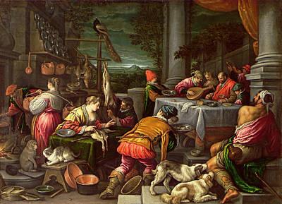 The Rich Man And Lazarus, 1590-95 Poster by Leandro da Ponte Bassano