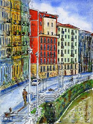 The Riverside Houses At Bilbao La Vieja Poster by Zaira Dzhaubaeva