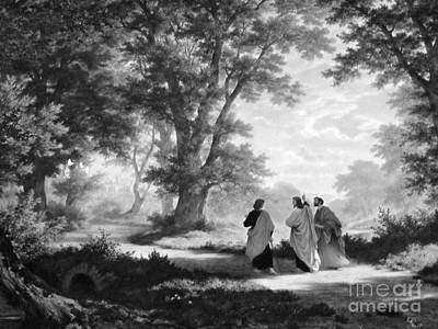 The Road To Emmaus Monochrome Poster by Tina M Wenger