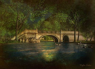 The Rose Pond Bridge 06301302 - By Kylie Sabra Poster by Kylie Sabra