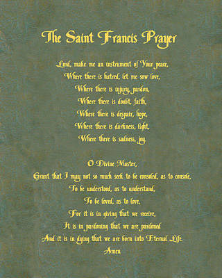 The Saint Francis Prayer In Gold Lettering On Green Leather. Poster
