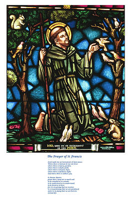 The Saint Francis Prayer With An Image Of St Francis In Stained Glass Poster by Philip Ralley