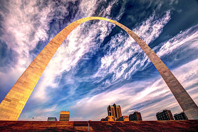 The Saint Louis Arch And Skyline Poster by Gregory Ballos