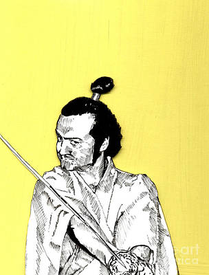 Poster featuring the mixed media The Samurai On Yellow by Jason Tricktop Matthews