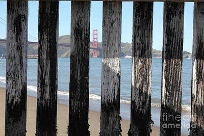 The San Francisco Golden Gate Bridge Through Wood Planks 5d21729 Poster by Wingsdomain Art and Photography