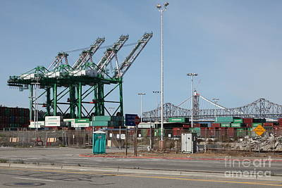 The San Francisco Oakland Bay Bridge Through The Port Of Oakland 5d22250 Poster by Wingsdomain Art and Photography
