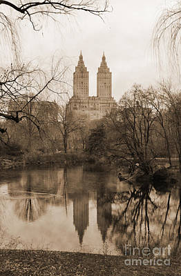 The San Remo Building Reflectec On The Lake In Central Park Vintage Look Poster by RicardMN Photography