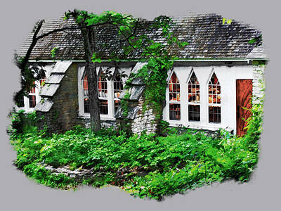 Poster featuring the digital art The Schoolhouse At The Clearing - Ellison Bay - Door County Wisconsin by David Blank
