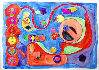 Poster featuring the painting The Science Of Shapes 1 by Esther Newman-Cohen
