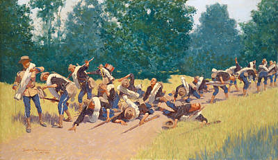 The Scream Of Shrapnel At San Juan Hill Poster by Frederic Remington