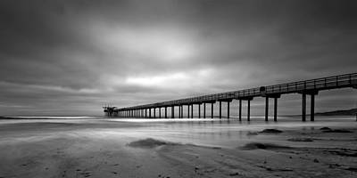 The Scripps Pier - Black And White Poster by Peter Tellone